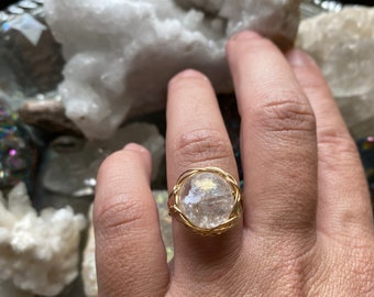Quartz Crystal Ball Size 7.5 14k Gold Filled Ring