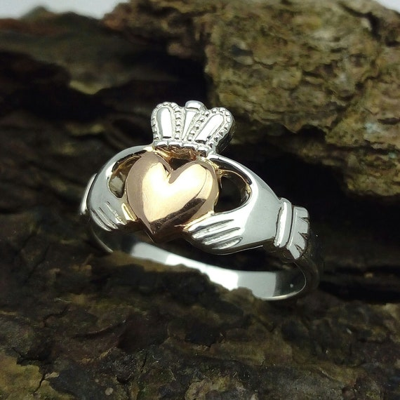 4 Bold 14k White Gold Mens Trinity Knot Band Irish Claddagh Ring