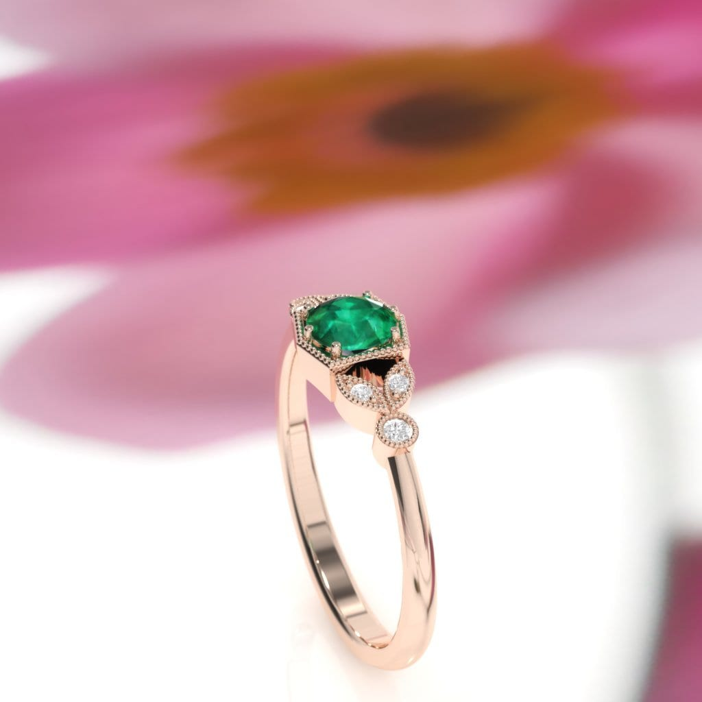 Emerald ring. Emerald and diamond ring. Emerald engagement ring with ...
