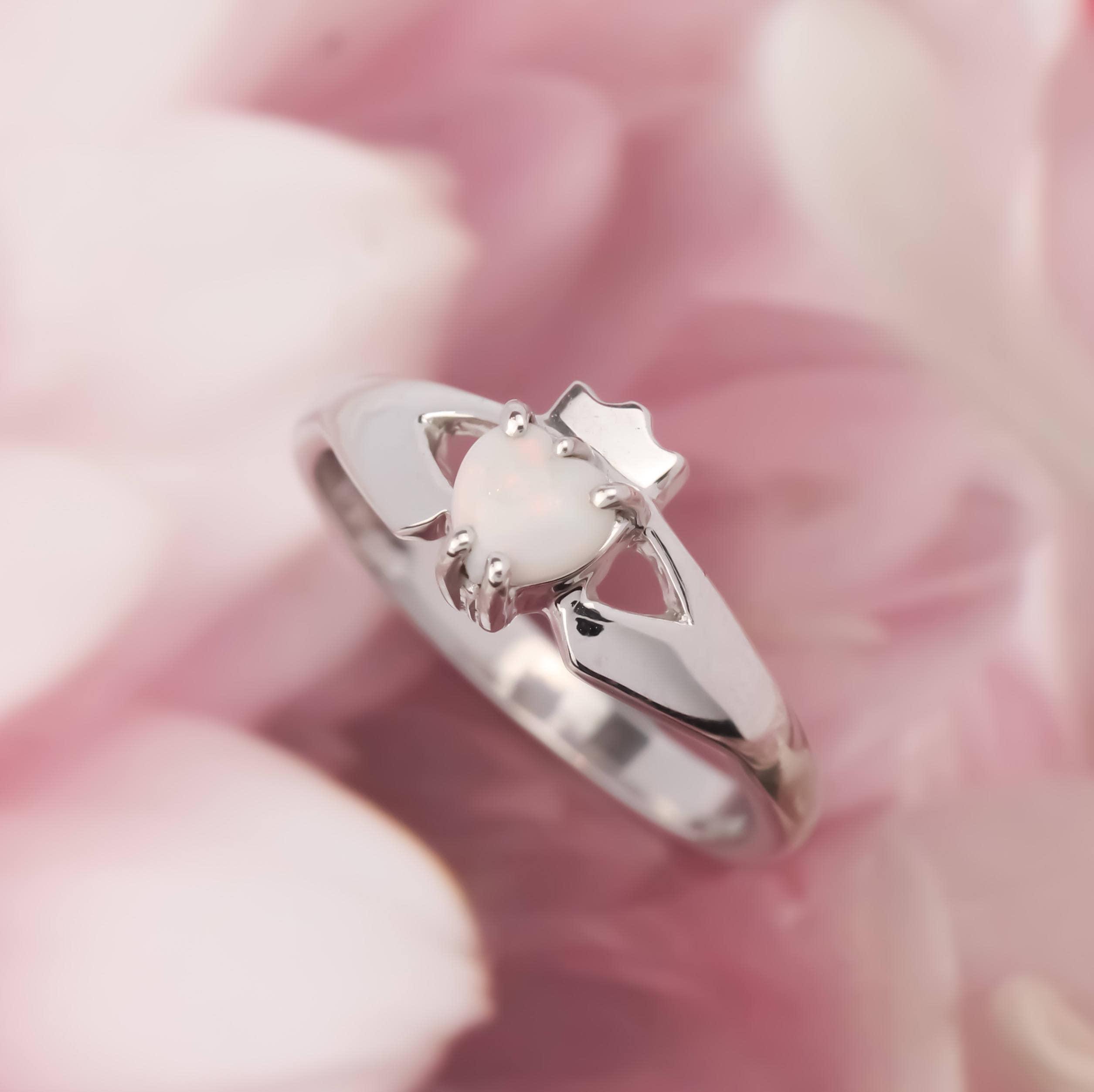Real Irish Opal Claddagh Ring, ladies claddagh with a beautiful opal ...
