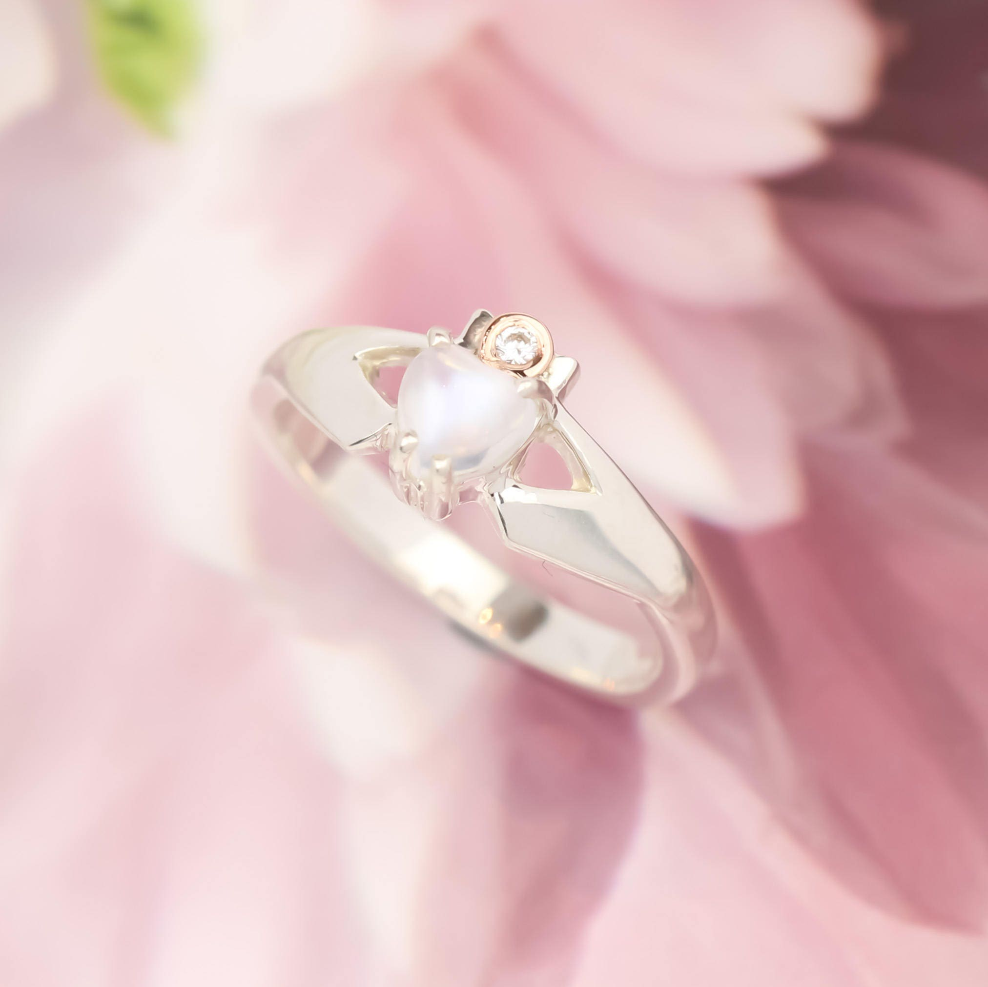 Claddagh ring, moonstone and diamond engagement ring. Real diamond ...