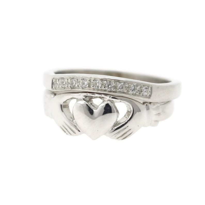 Claddagh ring with matching contemporary stone set crown ring by Ascheron