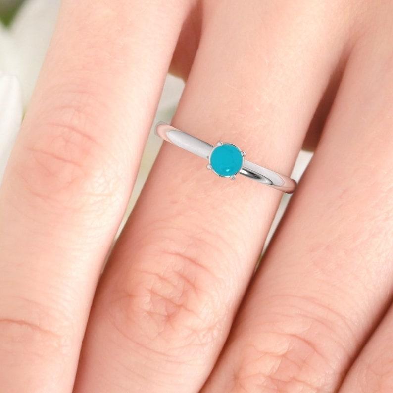 9K Dainty modern minimalist ring Rose gold turquoise ring 14K Platinum. 18K