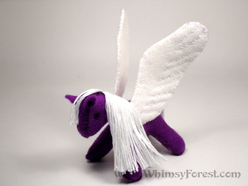 Miniature Purple Felt Toy Pegasus image 0