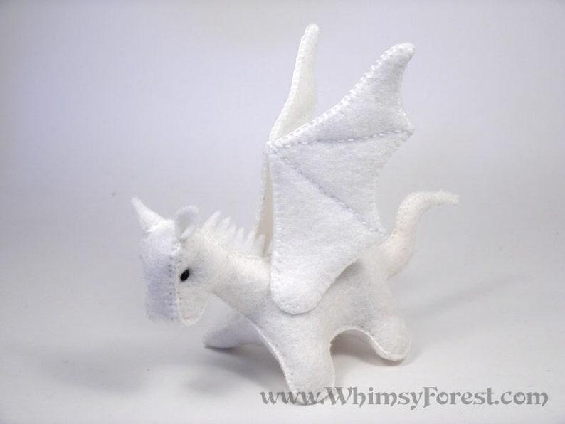 Miniature White Felt Toy Dragon image 0