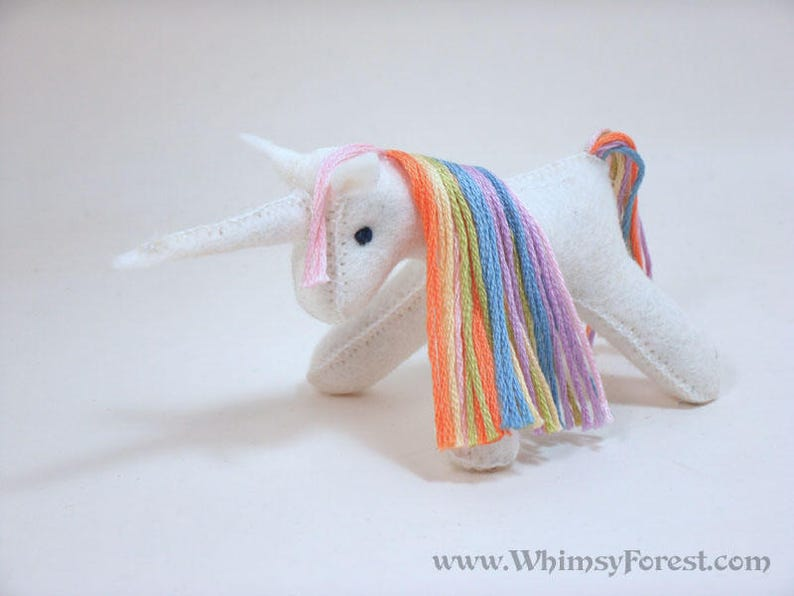 Miniature Pastel Rainbow Felt Toy Unicorn image 0