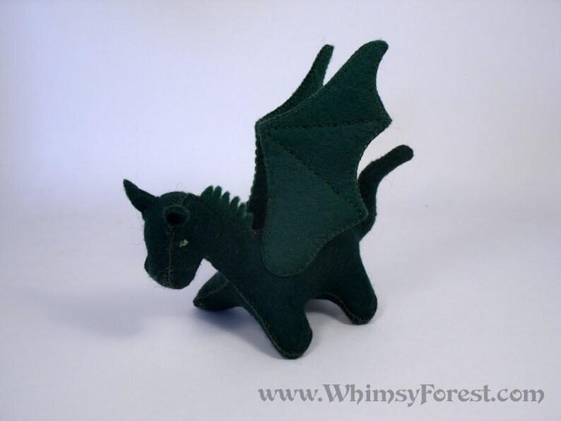 Miniature Dark Green Felt Toy Dragon image 0