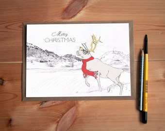 Merry Christmas Handcrafted Greeting Card with a Geeky Reindeer wearing Hipster Glasses and a Red Scarf * For your Friend, Brother or Sister