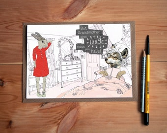 But Grandmother * Little Red Riding Hood * Greeting Card * Rabbit lover gift