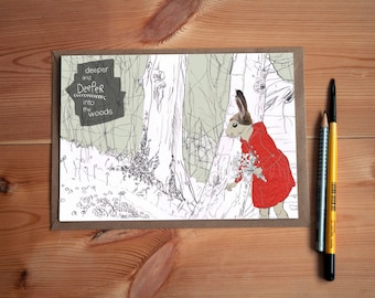 Deeper in the Woods * Little Red Riding Hood * Greeting Card * Perfect gift for an Art Lover