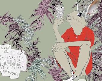 How Dark * Little Red Riding Hood * Art Print * Rabbit lover gift