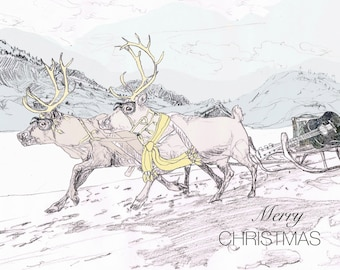 Merry Christmas Handcrafted Greeting Card with Reindeers and a Sledge and Guitar * Happy Christmas for a Musical Family or Friends