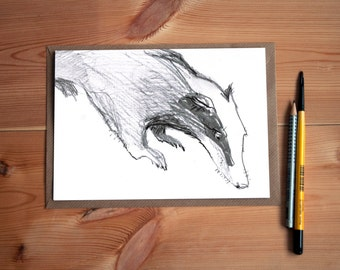 Charcoal Drawing of a Badger * The Wind in The Willows * A Monochrome Card * Badger lover gift * Nature