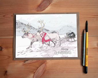 Merry Christmas Handcrafted Greeting Card with Red Reindeers and a Sledge and Guitar * Happy Christmas for a Musical Family or Friends