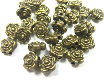 100 Spacer Blume 6,5x4mm Zwischenperlen Farbe antiksilber Metallperlen #S450