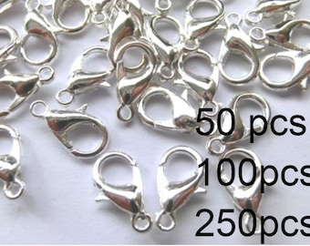Carabiner 12 mm closures chain closure color silver #S051