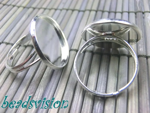 10 pcs Adjustable Ring  Filigree Ring Component,platinum finding.ring pad,platinum ring blank..perfect for  cabochon