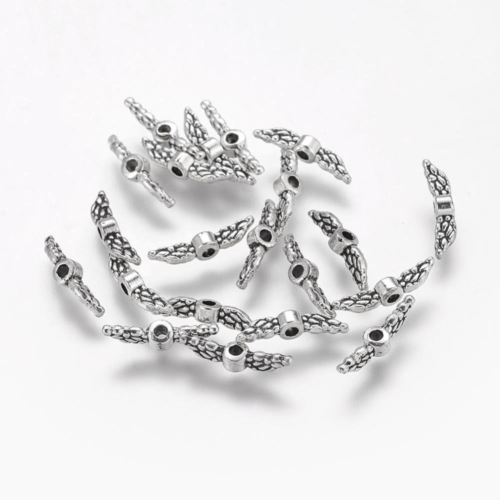 20 Mini Engelsflügel 12x3mm Metallperle Silber Schutzengel