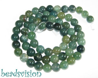 Moss agate rounds 8mm 1 Strand