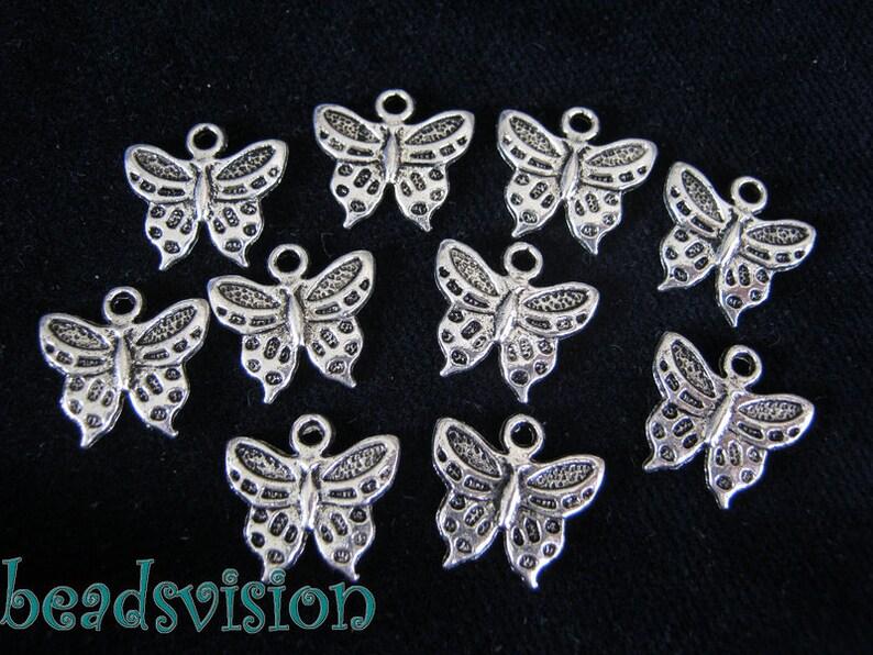 30 Pendant charm Butterfly color antique Silver #S196
