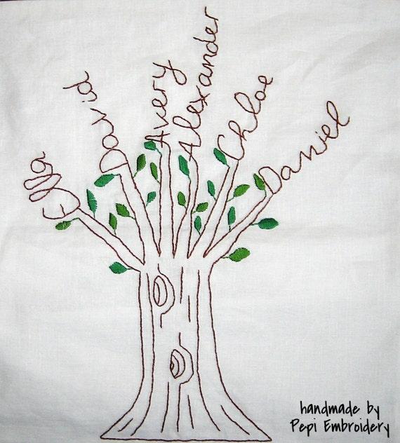 Almohada personalizada árbol cubierta bordado a mano. Árbol   Etsy