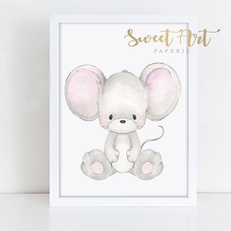 Baby Mouse  Nursery Art  Cute Nursery Decor  PRINT  Baby image 0