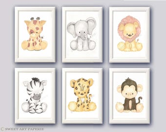 Safari Nursery Art - Nursery Decor- Watercolor - Set of 6 - PRINTS - Zoo Animals, Wall art,  Watercolor Print, Baby Animals, zoo animals