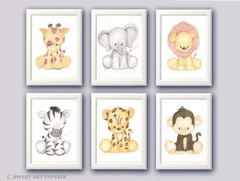 Safari Nursery Art  Nursery Decor Watercolor  Set of 6  image 0