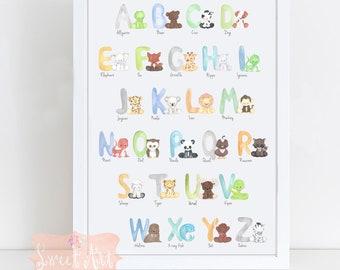 X Large ANimal Alphabet poster - BOY -Animal Alphabet Art - Nursery Decor -print - nursery,  Watercolor, Baby Animals, nursery Decor