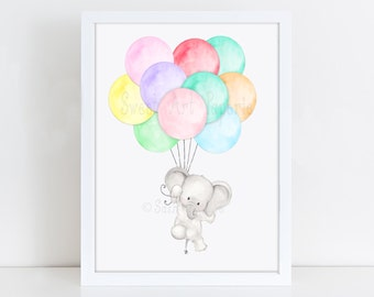 Elephant with Balloon Art, Nursery Art Print, Children's Picture, Kid's Decor, Baby's bedroom, Illustration drawing painting