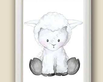Baby Lamb - Safari Nursery Art - Nursery Decor - PRINT - Safari Animals, Wall art,  Watercolor Print, Baby Animals, nursery Decor