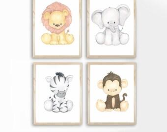Baby Animal Prints, Safari Nursery Art - Watercolor - Nursery Decor- Set of 4 - PRINTS - Zoo Animals, Wall art, Baby Animals, nursery Decor