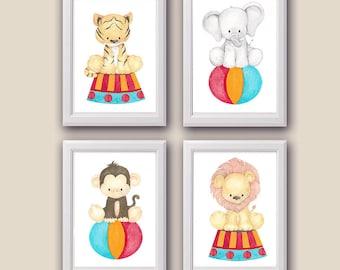 Circus Animal Nursery Art - Watercolor - Nursery Decor- Set of 4 - PRINTS - Circus Animals, Wall art, Baby Animals, nursery Decor