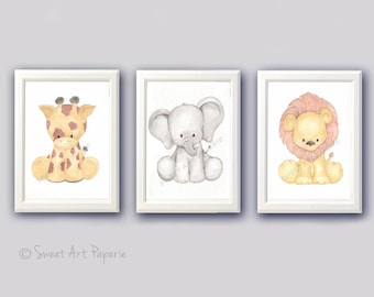 Safari Nursery Art - Nursery Decor- Watercolor - Set of 3 - PRINTS - Zoo Animals, Wall art,  Watercolor Print, Baby Animals, zoo animals