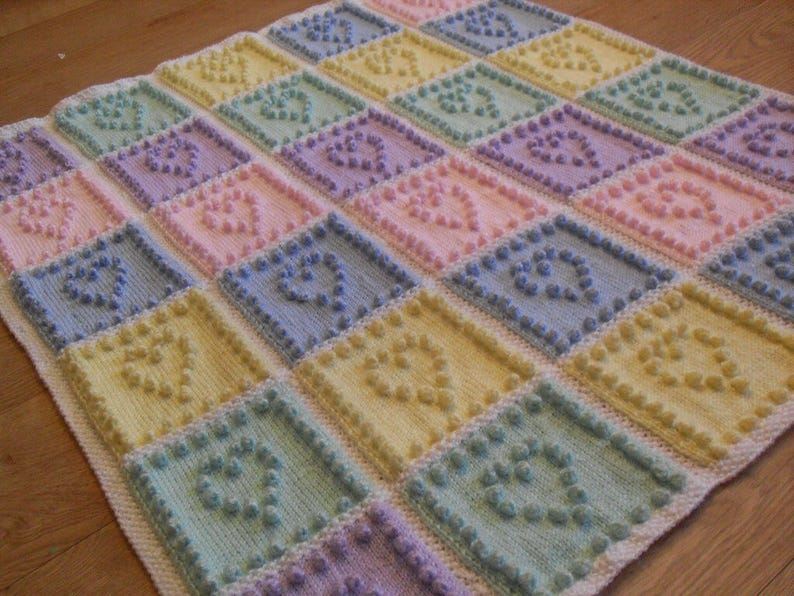 KNITTING PATTERN Baby Blanket Bobble Stitch - Heart Squares