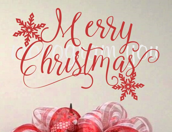 Christmas Vinyl Decals.Merry Christmas Vinyl Wall Decal Christmas Wall Decal Merry Christmas With Snowflakes Christmas Decal Diy Wall Decal