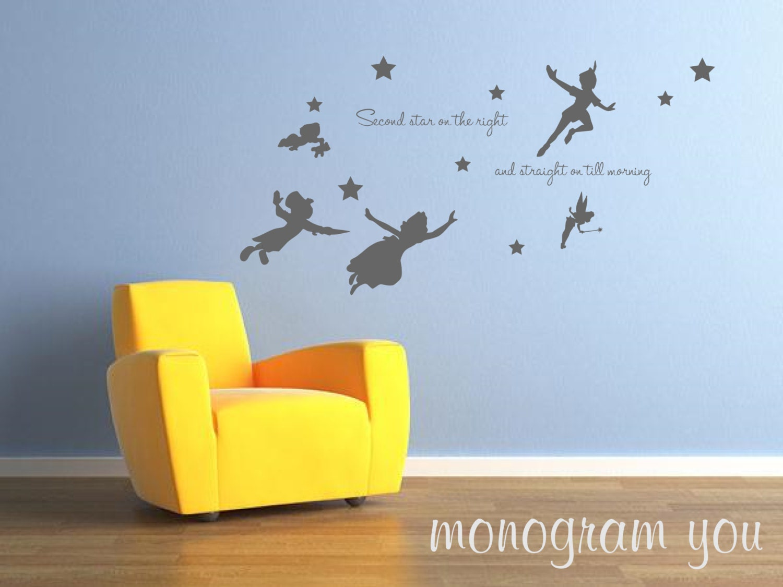 Peter Pan Wall Decal Nursery Wall Decal Babys Room Wall Etsy
