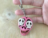 Pink skull keychain // Cr...