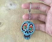 Green skull keychain // C...
