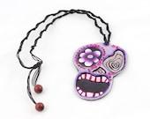 Skull Necklace Purple Des...