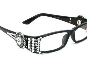 52fff7e7a9 Retro Cat eyes Women Reading Glasses W  Full Top Hematite    Black Diamond