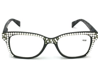 44015636c6 Retro Cat eyes Women Reading Glasses W  Full Top Hematite    Black Diamond  Swarovski Crystals +1.50