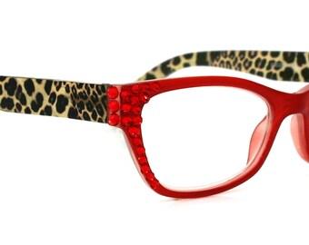 ceffe3d2d35 Cat Eye Reading Glasses w Swarovski Crystals  1.25