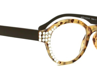 b90948c9c763 The Maven, Women Reading Glasses With Swarovski Crystals +1.50, 2.00, 2.50,  3.00 Brown Tortoise