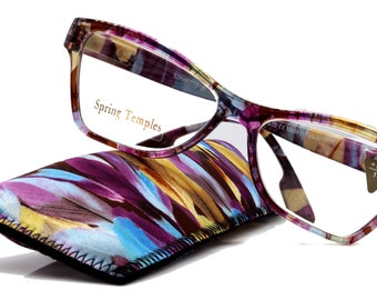 Avian,  (Premium) Reading Glasses, High End Reader +1.25 to +3 Magnifying Eyeglass, Cat Eye (Purple n Blue) Feather Pattern. NY Fifth Avenue