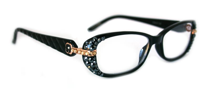 95003840e1 Glamour Quilted Women Reading Glasses W  Hematite Crystal