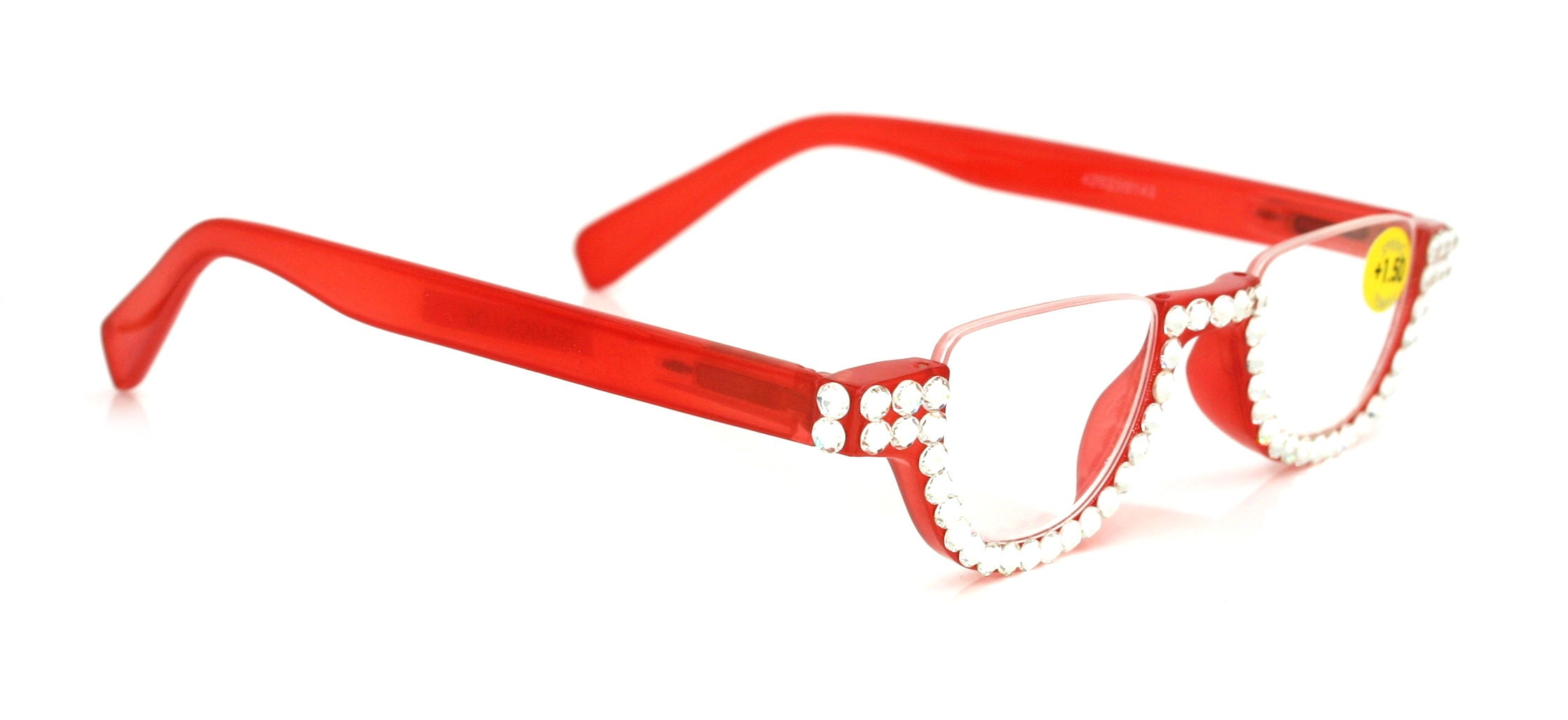 6617f8b9945 Half Moon RED Reading Glasses Women Adorned With Clear
