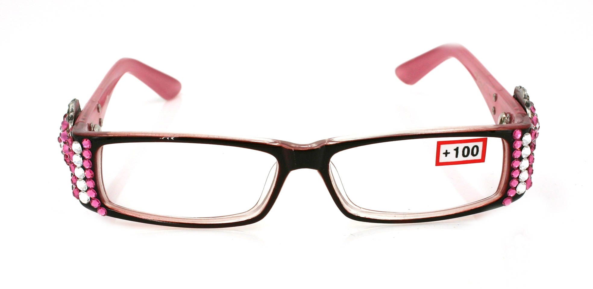 El Medallion Bling Gafas de Lectura para Mujer w Luz Rosa n