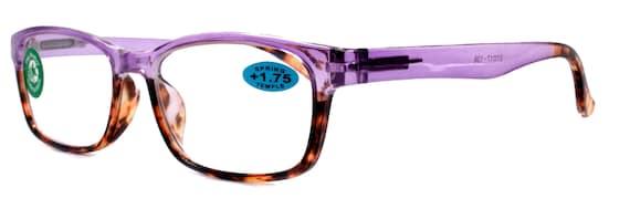 Reading Glasses High End Reader +1.25..+3 Magnifying Wayfarer Style Premium Optical Frame NY Fifth Avenue Desiree, Purple Tortoise Brown