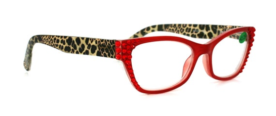 baa8f8c3e147 Cat Eye Reading Glasses w Swarovski Crystals 1.25